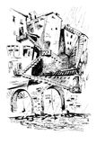 City Labyrinth. Hand drawn abstract city labyrinth Stock Images
