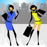 City Ladies. Illustration showing stylish city ladies Stock Images