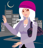City lady. A city on the night the woman under the illustrations Royalty Free Stock Image