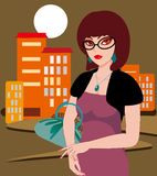 City lady. A city on the night the woman under the illustrations Vector Illustration