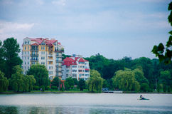 City lake. Evening lake in Ivano-Frankivsk city Stock Images