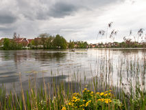 City lake nestled in the park. Bad Waldsee, Germany: City lake nestled in the park Stock Photography