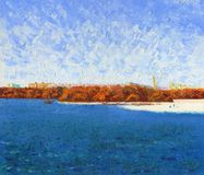 The city lake with the remains of ice. Sunny spring day. On the ice, fishermen catch fish. Waves on the water, in the background are houses and trees. Oil vector illustration