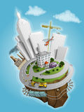 City and the land illustration. With buildings, roads, train, hellicopter Royalty Free Stock Photos