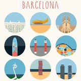 Barcelona - Vector icons set, eps10. City landmarks flat design icons- Barcelona. Vector icons set, eps10 Royalty Free Stock Images