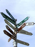 City landmarks. Street signs showing the distance of some city landmarks Stock Photo