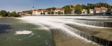 City Landsberg and cascade of river Lech Royalty Free Stock Photography