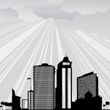 City landscape. Background illustration with city and clouds in gray tones Royalty Free Stock Image