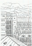 City landscape. Drawing,  illustration Royalty Free Stock Images