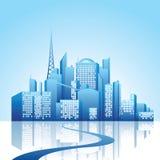 City landscape. Blue city landscape -  illustration Stock Photo