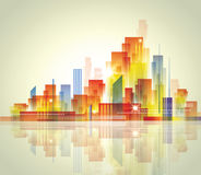 City Landscape. Colorful city landscape with reflection in water vector illustration