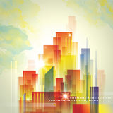 City Landscape. A colourful abstract city landscape with clouds Stock Images