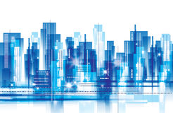 City Landscape. An abstract city landscape in blue colour with lights vector illustration