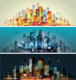 City Landscape. City skylines at daylight, evening and night Royalty Free Stock Photo