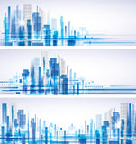 City Landscape. Abstract city skylines in blue color Stock Image