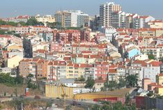 City landscape. With several buildings houses and highway Royalty Free Stock Images
