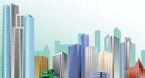 City landscape. From high buildings, skyscrapers vector illustration