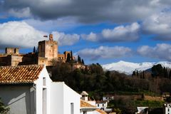 City landscape with Alhambra palace royalty free stock photo