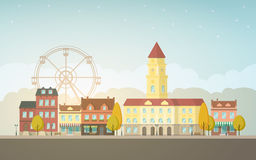 City landscape. Autumn city landscape. Urban background with buildings, tower, town hall, shop, stores, market, ferris wheel, alley, street. Vintage house Stock Photos