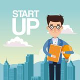 City landscape background closeup business man with glasses star up. Vector illustration Royalty Free Stock Images