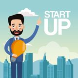 City landscape background closeup businessman with light bulb star up. Vector illustration Royalty Free Stock Image