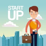 City landscape background closeup man with portfolio and light bulb star up. Vector illustration Royalty Free Stock Photo