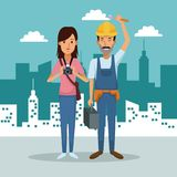 City landscape background with full body couple woman photograph and workman. Vector illustration Stock Photo
