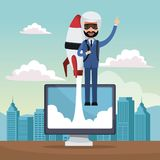 City landscape background star up business man flying in rocket on display computer. Vector illustration Stock Photos