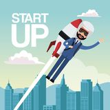 City landscape background star up business man flying in rocket. Vector illustration Royalty Free Stock Photo
