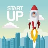 City landscape background star up business man inside to rocket. Vector illustration Royalty Free Stock Photography