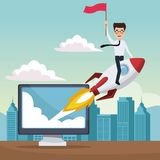 City landscape background star up business man on a rocket with display computer. Vector illustration Stock Images