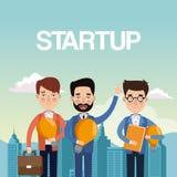 City landscape background teamwork businessmen with light bulb and portfolio star up. Vector illustration Stock Image