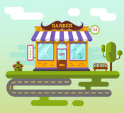 City landscape with barber shop. Vector flat style illustration of City landscape with barber shop building, street with road, bench, tree and flower. Signboard Royalty Free Stock Photo