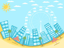 City landscape with beach. A resort town on the beach. Palms and attractions. Vector. Illustration Royalty Free Stock Photography