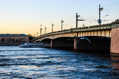 City landscape beautiful sunset on the river. City landscape beautiful sunset on the Neva river Stock Images