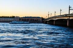 City landscape beautiful sunset on the river. City landscape beautiful sunset on the Neva river Royalty Free Stock Photo
