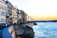 City landscape beautiful sunset on the river. City landscape beautiful sunset on the Neva river Stock Photography