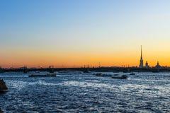 City landscape beautiful sunset on the river. City landscape beautiful sunset on the Neva river Stock Photo