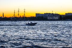 City landscape beautiful sunset on the river. City landscape beautiful sunset on the Neva river Stock Image