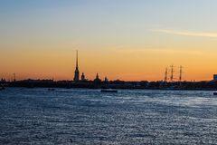 City landscape beautiful sunset on the river. City landscape beautiful sunset on the Neva river Royalty Free Stock Photos