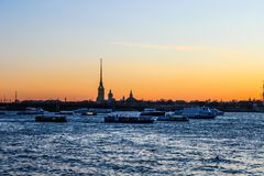 City landscape beautiful sunset on the river. City landscape beautiful sunset on the Neva river Stock Photos