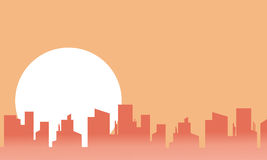 City landscape and big moon silhouettes Stock Photography