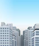 City landscape with buildings. Blue big city landscape with buildings Royalty Free Stock Image