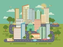 City Landscape with Buildings Cars and Roads Royalty Free Stock Photography