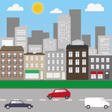 City landscape with cars and shops. Street of the city with buildings and cars on the road stock illustration