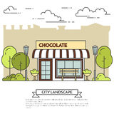 City landscape with chocolate cafe in public park Line art. Chocolate cafe with lamps, bench in public park. Vector illustration. Line art. Elements for building Stock Photo