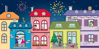 Christmas landscape. City landscape for christmas or new year Royalty Free Stock Images