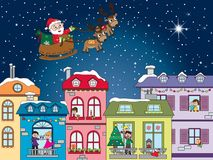 Christmas landscape. City landscape for christmas with santa claus Stock Photography