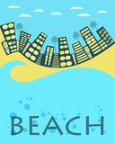 City landscape. City beach. Vector banner. Stock Photos