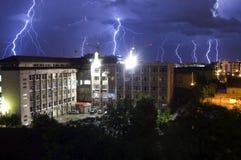 Lightning over neighborhood royalty free stock photo